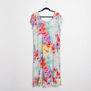 Jams World Vibrant Floral Midi Short Sleeve Dress
